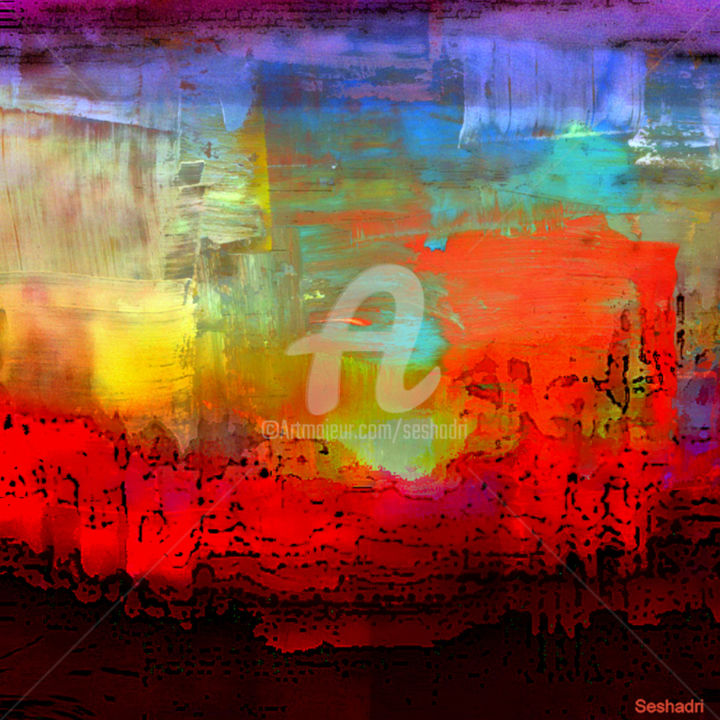 Art and Mind-1 - Digital Arts,  30x24x0.3 in ©2019 by Seshadri -                                            Abstract Expressionism, Abstract Art, painting, oil, acrylic, watercolours, canvas, paper, abstract, abstract expressionism