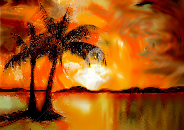 Palm Trees and Golden Sunset - Digital Arts, ©2016 by Seshadri -                                                                                                                                                                                                                                                                                                                                                                                                                                                      Abstract, abstract-570, Landscape, Landscape, sunset, modern, painting, expressionism, impressionism