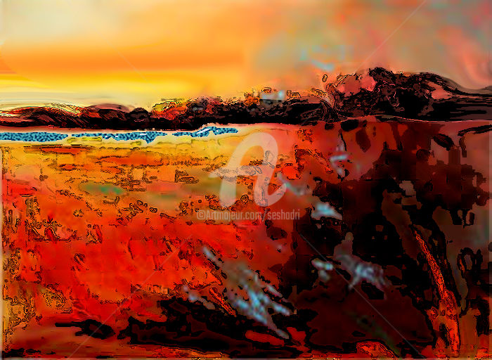 Sundown Time - Painting,  60x75x0.2 cm ©2015 by Seshadri -                                                            Contemporary painting, Canvas, Landscape, landscape, seascape, oil, painting, watercolours, acrylic, contemporary