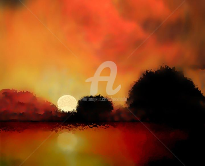 Glorious Sunset - Digital Arts, ©2016 by Seshadri -                                                                                                                                                                                                                                                                                                                                                                                                                                                      Abstract, abstract-570, Landscape, landscape, sunset, sunrise, expressionist, warm colours, painting
