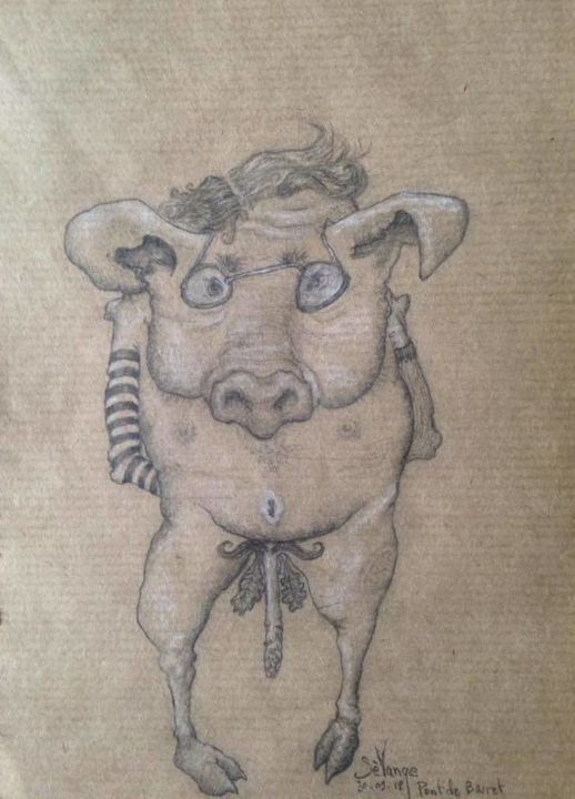 """Bin mon cochon!"" - Drawing,  20x15 cm ©2018 by SèVange -                                                            Outsider Art, Paper, Animals, dessin, cochon, art singulier, art outsider, art brut"
