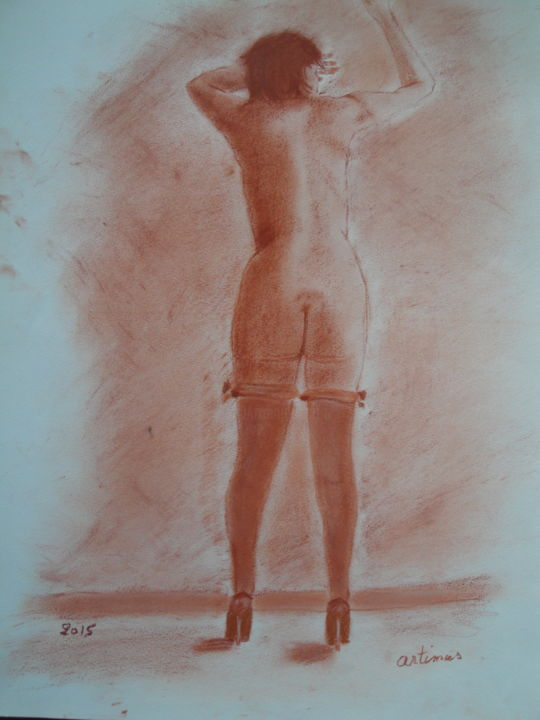 sexy - Drawing,  17.3x22.1 in, ©2015 by artimus guenin -                                                              Nude