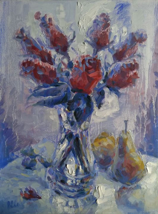"""Painting titled """"Roses and Pears by…"""" by Alex Klas, Original Art, Oil"""