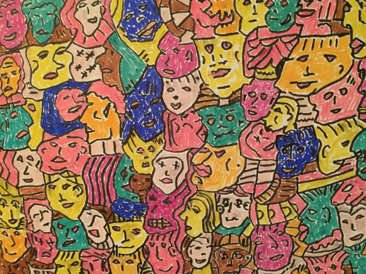 Faces-à-main - Painting,  11x14x0.1 in, ©2019 by Steven G Humble -                                                                                                                                                                                                                                                                  Expressionism, expressionism-591, Animals, Colors, People