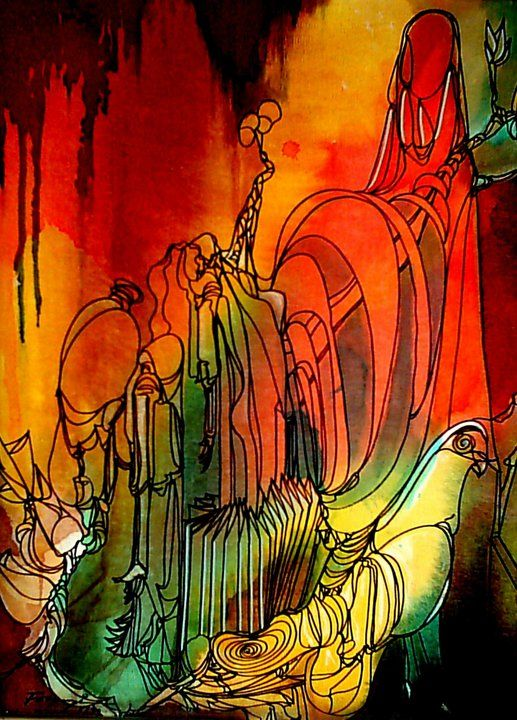 """Painting titled """"Journey of Line3"""" by Shafique Farooqi, Original Art, Watercolor"""