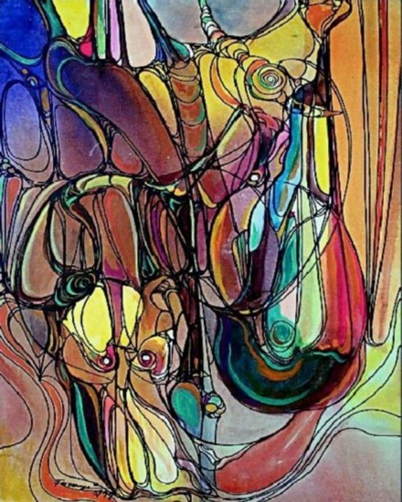 """Painting titled """"Journey of Line4"""" by Shafique Farooqi, Original Art, Watercolor"""