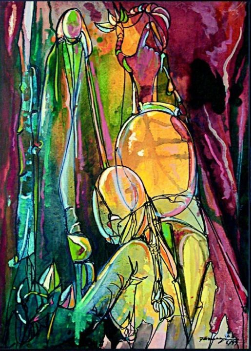 """Painting titled """"Journey of Line5"""" by Shafique Farooqi, Original Art, Watercolor"""