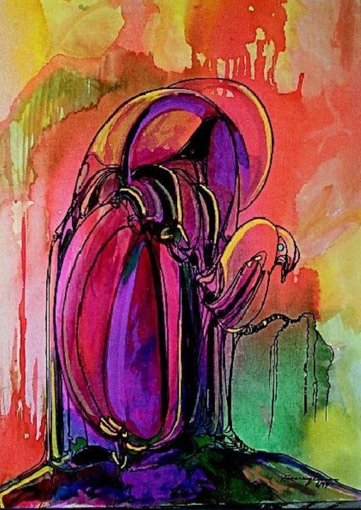 """Painting titled """"Journey of Line6"""" by Shafique Farooqi, Original Art, Watercolor"""