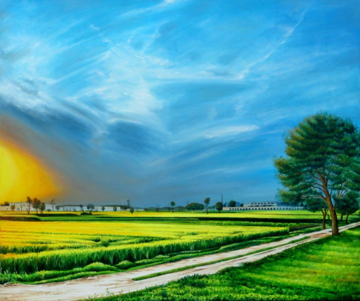 """Painting titled """"Village Scene of Pa…"""" by Shahid Rana, Original Art, Oil"""