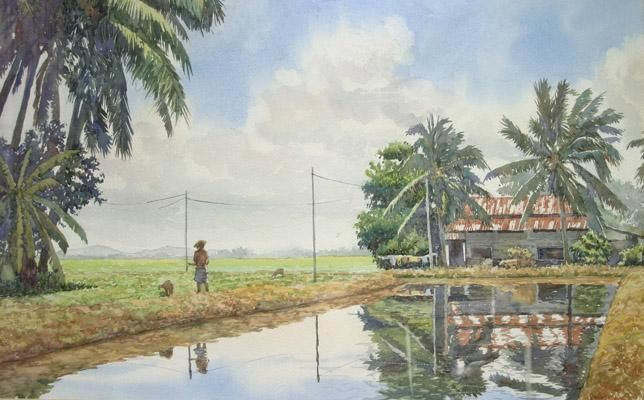 Alor Mengkudu - Painting,  20x24x0.4 in, ©2002 by M Shahrin Shaari -