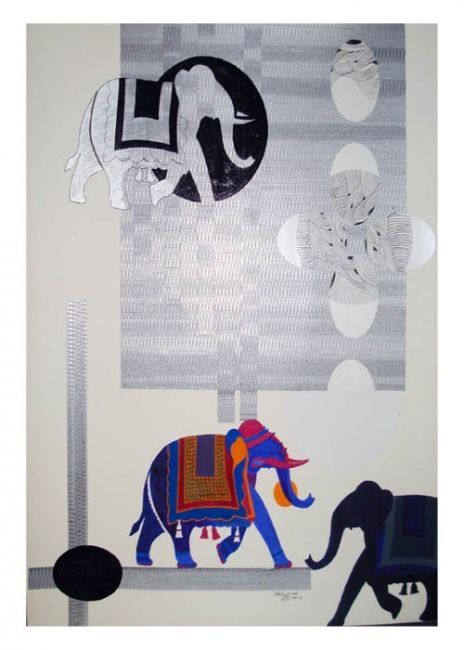 """Painting titled """"birdal with elephant"""" by Shahzad, Original Art,"""