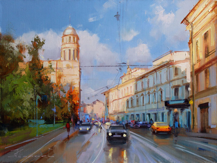 The evening is at hand. Ilyinka Street. - ©  Old Moscow, historical center, sun, evening, June Online Artworks