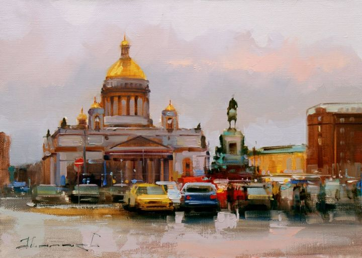 """""""Granite Empire."""" St. Isaac's Square. - © 2018 St. Petersburg, painting, autumn, sun, old city Online Artworks"""