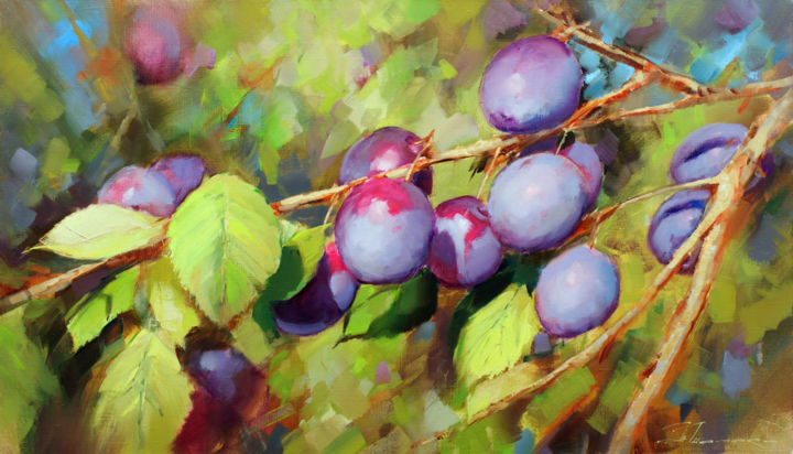 The uncle's plum is sweeter. In the village of Ala - Painting,  15.8x27.6 in, ©2018 by Shalaev Alexey -                                                                                                                                                                                                                                                                                                                                                              Figurative, figurative-594, Still life, Слива, лето, картина, живопись