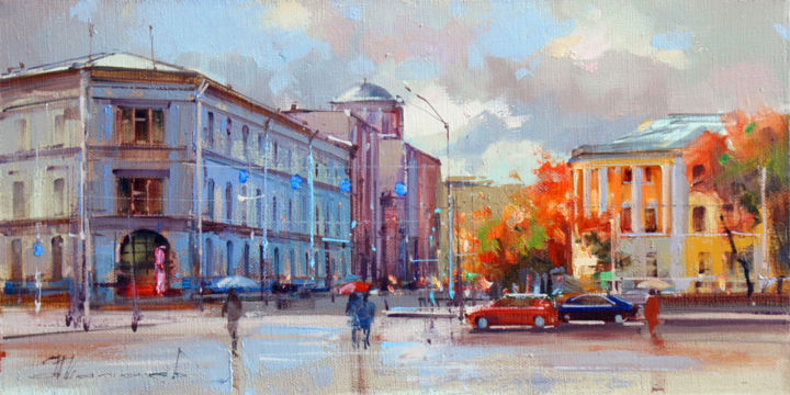 The Moscow Post Office. Myasnitskaya street. - Живописец,  7,9x15,8 in, ©2018 - Shalaev Alexey -                                                                                                                                                                                                                                                                                                                                                                                                                                                                                                                                                                                                                                                                                      Figurative, figurative-594, Хлопок, artwork_cat.Cityscape, Autumn, boulevard, Russian Post, old Moscow, sun, puddles, historical center, cityscape, views of Moscow, painting