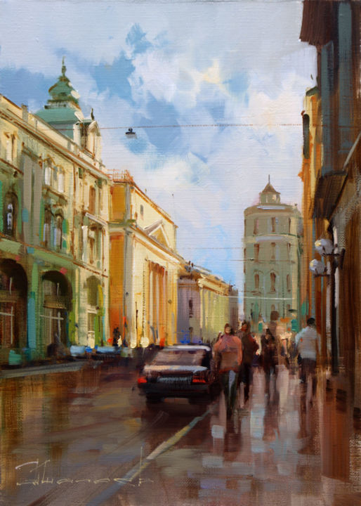 I'll go through the old streets. Ilyinka Street. - Живописец,  13,8x9,8 in, ©2018 - Shalaev Alexey -                                                                                                                                                                                                                                                                                                                                                                                                                                                      Figurative, figurative-594, artwork_cat.Cityscape, Summer in Moscow, Stock Exchange Square, Old Moscow streets, historical center, old Moscow, painting