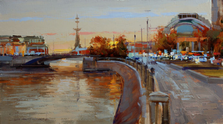 Twilight. Moscow, view of the Small Stone Bridge. - Живописец,  9,8x17,7 in, ©2019 - Shalaev Alexey -                                                                                                                                                                                                                                                                                                                                                                                                                                                                                                                                                                                          Figurative, figurative-594, artwork_cat.Cityscape, Modern Moscow, Moscow, Views of Moscow, painting, city, cityscape, cinema Udarnik, Peter 1, evening