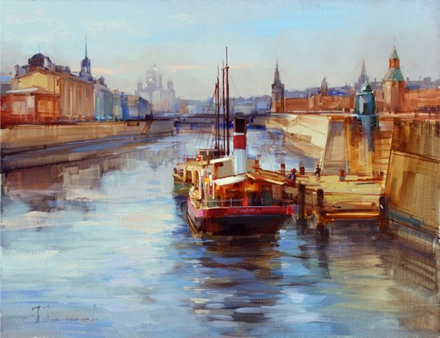 Moscow River. The old pier - Painting,  17.7x23.6 in, ©2012 by Shalaev Alexey -                                                                                                                                                                          Figurative, figurative-594, Old ship at the pier Kremlin embankment. The historic center of Moscow.