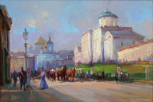 According to Moss, the Pashkov House. - Painting,  11.8x17.7 in, ©2012 by Shalaev Alexey -                                                                                                                                                                          Figurative, figurative-594, The historic center of Moscow. 18th century. Old Town.