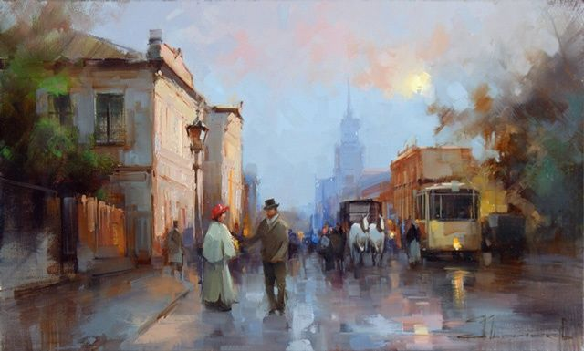Evening on Prechistenka. - Painting,  11.8x19.7 in, ©2012 by Shalaev Alexey -                                                                                                                                                                                                                      Figurative, figurative-594, The historical center of the 19th century. Moscow evening, meeting.