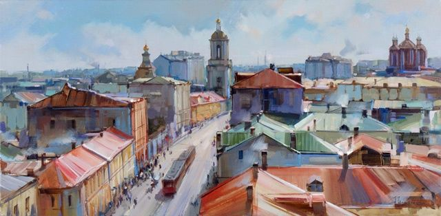 Pyatnitskaya Street. A series of  -  Warm air from the roof. - Painting,  15.8x31.5 in, ©2012 by Shalaev Alexey -                                                                                                                                                                          Figurative, figurative-594, Old Moscow. Outdoors Pyatnitskaya from the bell tower of the temple of the Beheading of St. John.
