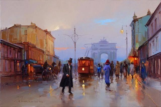 To the Tverskaya Outpost - Painting,  15.8x31.5 in, ©2012 by Shalaev Alexey -                                                                                                                                                                                                                                                                                                                                                                                                      Figurative, figurative-594, Old Moscow. Tverskaya street, Tverskaya zastava, Old tram, horses, evening, kinds of moscow.