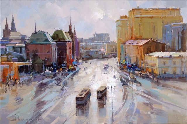 "Revolution Square, a series of "" Warm air from the roof"". - Painting,  15.8x23.6 in, ©2012 by Shalaev Alexey -                                                                                                                                                                          Figurative, figurative-594, Old Moscow. View of the Revolution Square from the roof of Hotel Metropole."