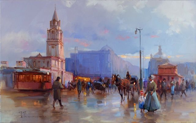 Evening on Tverskaya Street, the walls of Strastnoy of the monastery. - Painting,  31.5x19.7 in ©2012 by Shalaev Alexey -                            Figurative Art, Pushkin Square, Old Moscow.