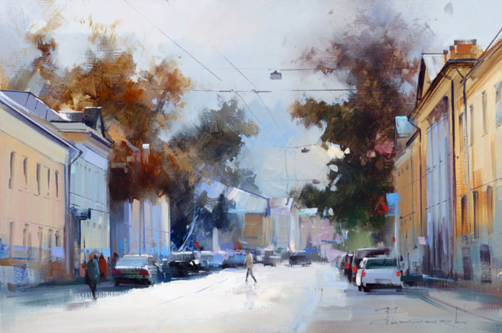 The September ray. Solzhenitsyn street - Painting,  15.8x23.6 in, ©2012 by Shalaev Alexey -                                                                                                                                                                                                                                                                  Figurative, figurative-594, Historic center, Moscow panorama, autumn