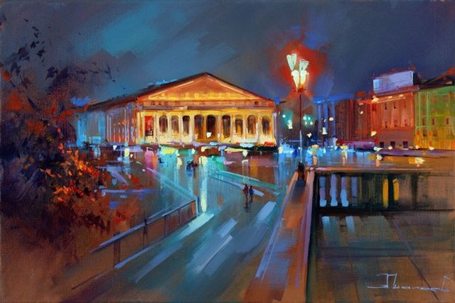 The lights of an - Painting,  60x40 cm ©2012 by Shalaev Alexey -                            Figurative Art, night, autumn, the panorama of Moscow, the old Lee, a historic center, street lights