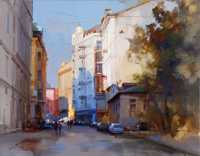About the Arbat. Plotnikov Lane. - Painting,  70x55 cm ©2012 by Shalaev Alexey -                            Realism, Historic center, the old Moscow, Moscow panorama, autumn