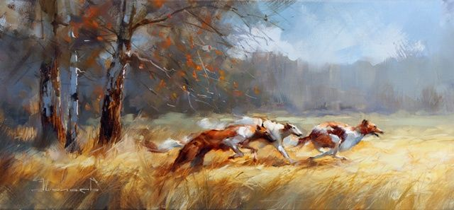 Atu! - Painting,  30x65 cm ©2012 by Shalaev Alexey -                            Realism, Hunting with hounds Russian. Autumn