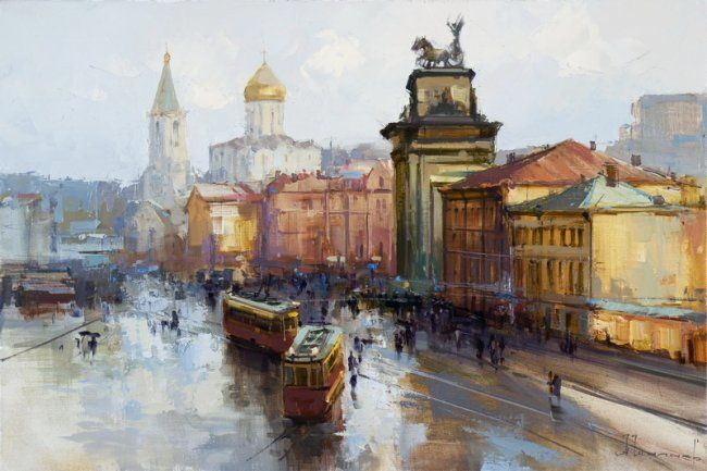 Belorusskaya Station square - Painting,  15.8x23.6 in, ©2009 by Shalaev Alexey -                                                                                                                                                                                                                                                                                                              Figurative, figurative-594, old moscow, denis davydov, the war hero of 1812, the historical center of moscow