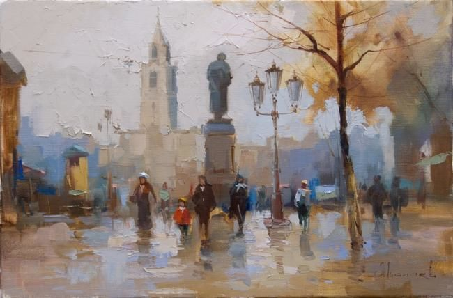 "Pushkin, the popular trail. From the series ""Old Moscow"" - Painting,  45x30 cm ©2008 by Shalaev Alexey -                            Figurative Art, tver boulevard, cityscape, city, painting, painting, moscow types, moscow, old moscow"