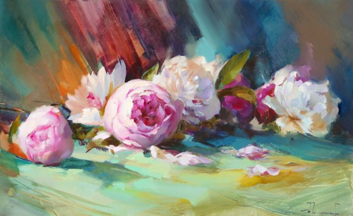 Peonies - Painting,  50x80 cm ©2009 by Shalaev Alexey -            Flowers, peonies, flowers on the table, the scent of June