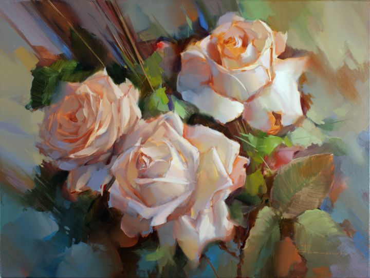 Roses Creme de la Creme - Painting,  60x80 cm ©2011 by Shalaev Alexey -            Flowers, creme roses, wind, flower, light
