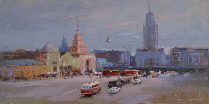 """""""Warm summer 66 - year"""". Komsomolskaya Square - Painting,  7.9x15.8 in, ©2014 by Shalaev Alexey -                                                                                                                                                                                                                                                                  Figurative, figurative-594, Summer, the center, the old Moscow Station"""