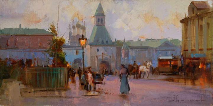 """Rendezvous on the evening sunset."" Ilinskoe gate. - Painting,  7.9x15.8 in, ©2014 by Shalaev Alexey -                                                                                                                                                                                                                                                                                                              Figurative, figurative-594, Autumn, evening, lights, old city"
