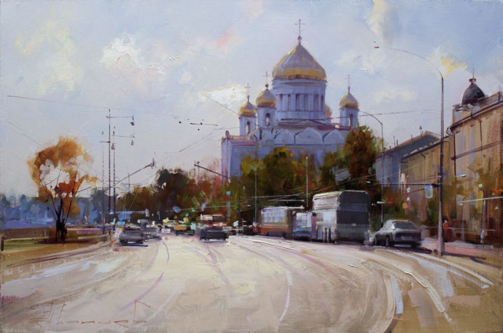 """On the light."" Prechistenskaya quay - Painting,  15.8x23.6 in, ©2015 by Shalaev Alexey -                                                                                                                                                                                                                                                                                                                                                                                                                                                      Impressionism, impressionism-603, Cities, The historic center of Moscow Old Moscow, Cathedral of Christ the Savior, autumn, cityscape, paintings,  paintings"
