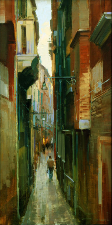 """The narrow maze of"" Venice. - Painting,  60x30 cm ©2015 by Shalaev Alexey -                                                            Impressionism, Canvas, Cities, Italy,  Venice,  the old city,  a tourist paradise,  sunlight"