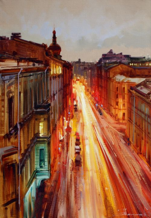 """""""Petersburg time 0 hours 0 minutes"""". St.Petersburg - Painting,  35x50 cm ©2016 by Shalaev Alexey -                                                            Realism, Canvas, Cityscape, movement, Northern Palmyra, night, St. Petersburg"""