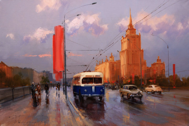 """Red October, blue trolley."" Novoarbatsky Bridge. - Painting,  40x60 cm ©2016 by Shalaev Alexey -                                                            Realism, Canvas, Cityscape, Hotel Ukraine, the old Moscow, Novy Arbat, autumn, the Soviet Union, the Stalinist skyscraper"