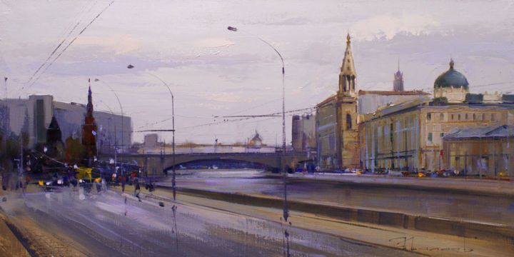 «The palette of November». Old Moscow 1989. - Painting,  30x60 cm ©2016 by Shalaev Alexey -                                                            Realism, Canvas, Cityscape, Russia hotel, Moscow river, views of Moscow, late autumn, Kremlin Embankment
