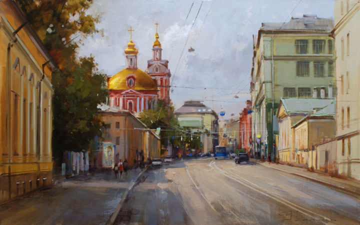 August. Staraya Basmannaya. Plein Air «Old Moscow» - Картина,  50x80 cm ©2016 - Shalaev Alexey -                                                            Реализм, Холст, Городской пейзаж, Temple of the Great Martyr Nikita, views of Moscow, walking around Moscow, summer, sunny city