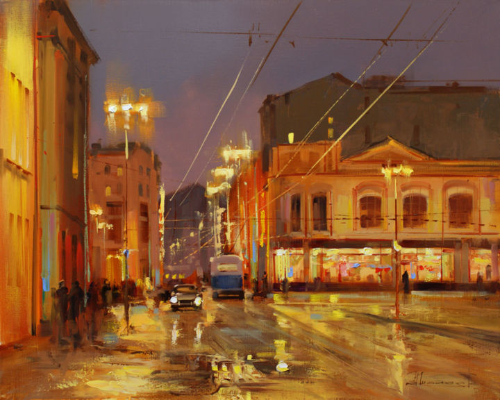 «Moscow Windows», Kuznetsk Bridge. Old Moscow. - Painting,  15.8x19.7 in, ©2016 by Shalaev Alexey -                                                                                                                                                                                                                                                                                                                                                                                                          Figurative, figurative-594, Cityscape, Views of Moscow, Moscow, which has no night in the city, the old trolley, Petrovka