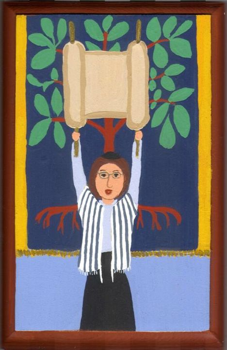 Hagba - Painting,  6.3x3.6 in, ©2006 by Adelle Jean -                                                                                                                                                                                                                                                                                                                                                                                                                                                                          Judaica, Judaic, Jewish, Hagba, Hebrew, Religious, Woman Rabbi, Jewish Women in Art, Judaism, Reform