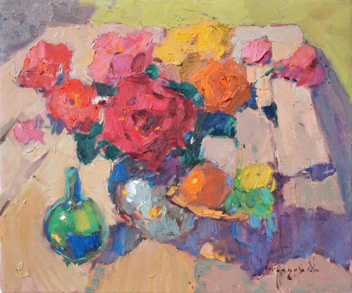 The Queen of the Garden _ oil on canvas - Painting,  19.7x23.6x0.8 in, ©2018 by Alexander Shandor -                                                                                                                                                                                                                                                                                                                                                                                                                                                      Impressionism, impressionism-603, Still life, Garden, Flower, shandor, sale, roses, transcarpathian art