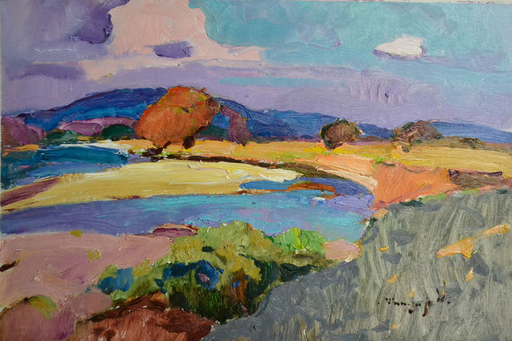 View of the river _ oil on cardboard - Живописец,  17,5x25,8x0,8 in, ©2019 - Alexander Shandor -                                                                                                                                                                                                                                                                                                                                                                                                                                                                                                                                                                                                                                                                                                                              Impressionism, impressionism-603, Времена года, Пейзаж, Природа, tree abstract, tree branches over the river, tree colors, autumn colors, summer beach holiday, summer colors, river and mountains, river bank, original artworks, transcarparhian art
