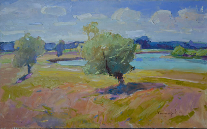 Hot Summer _ oil on canvas - Painting,  21.7x31.5x0.8 in, ©2019 by Alexander Shandor -                                                                                                                                                                                                                                                                                                                                                                                                                                                                                                                                                                                                                                                                                                                                                                                                                      Impressionism, impressionism-603, Water, Mountainscape, Landscape, summer, trees and field, trees and water, trees by the river, field of blue, river and sky, river and trees, river bank, hot colors, Hot Sun, summer breeze, shandor