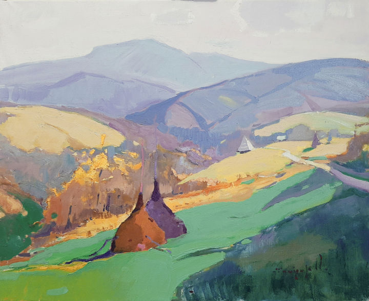 Fresh morning _ oil on canvas - Painting,  23.6x27.6x0.8 in, ©2019 by Alexander Shandor -                                                                                                                                                                                                                                                                                                                                                                                                                                                                                                                                                                                                                                      Impressionism, impressionism-603, Seasons, Mountainscape, Culture, Landscape, Haystacks, field, mountains and sky, mountains, air, autumn, Carpathian landscape
